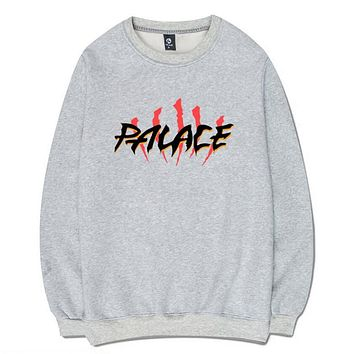 PALACE Popular Unisex Loose Letter Print Long Sleeve Top Sweater Grey