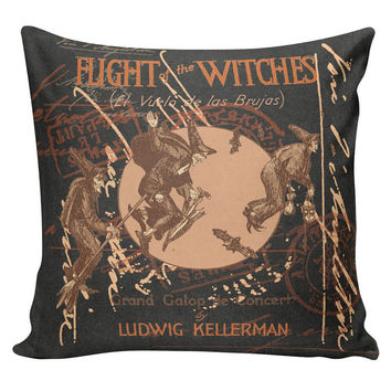 Cushion Pillow Halloween Flight of the Witches Cotton and Burlap HA-43 RavenQuoth All Hallow's Eve Home Decor