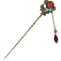 Chinese Traditional Elegant Flower Shape Hairpins Hair Pin Stick Fashion Long Hair Accessory Decorative for Women Girls (C-Colorful)