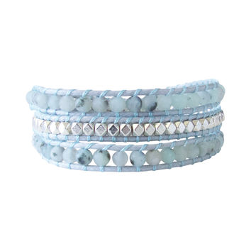 Agate Silver Blue Beaded Wrap Bracelet