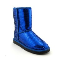 Womens UGG® Classic Short Sequin Boot, Blue Sparkle, at Journeys Shoes