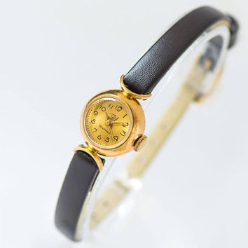 Mini wristwatch for women gold plated, classic lady watch Dawn, demilune trim woman watch gift, rare design watch, new premium leather strap