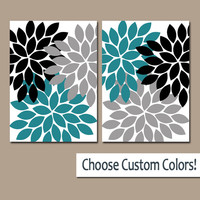 TEAL Black WALL Art CANVAS or Prints Teal Gray Bathroom Artwork Bedroom Pictures Nursery Decor Dahlia Flower Burst Petal Set of 2 Home Decor