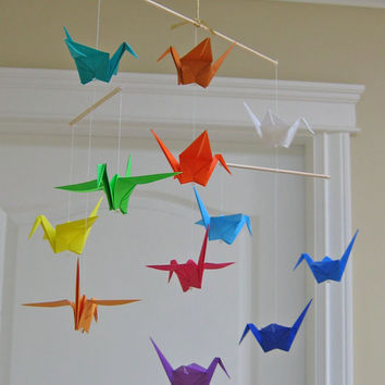 Origami Crane Mobile - Rainbow - Modern Baby Room Decor