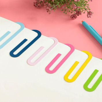 VONC1Y 2 Pcs/lot Cute Kawaii Big Metal Paper Clip Bookmark Office School Supplies Stationery Paperclips