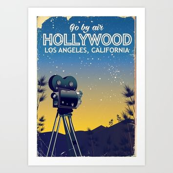 Hollywood, Los Angeles,California travel poster Art Print by Nick's Emporium
