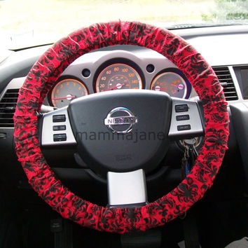 Red and Black Damask Steering Wheel Cover by mammajane on Etsy