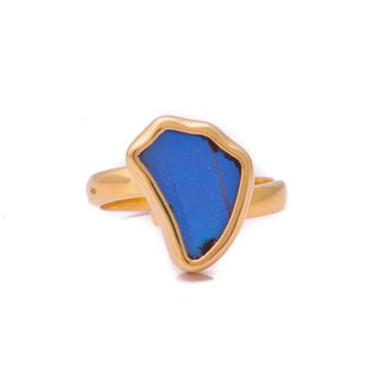Gold butterfly ring  - Iridescent Blue Wing Shaped Morpho Didius