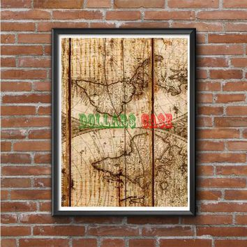 Old World Map Wood Photo Poster