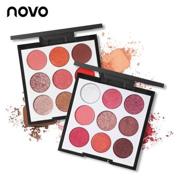 Novo Makeup Brand 9 Color Smooth Shimmer Eyeshadow Palette Wine Red Matte Eye Shadow Wet and Dry