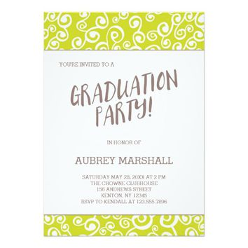 Lime Swirls Graduation Party 5x7 Paper Invitation Card