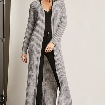 Ribbed Side-Slit Cardigan