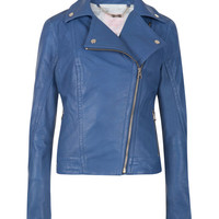 Coloured leather jacket - Bright Blue | Jackets & Coats | Ted Baker ROW