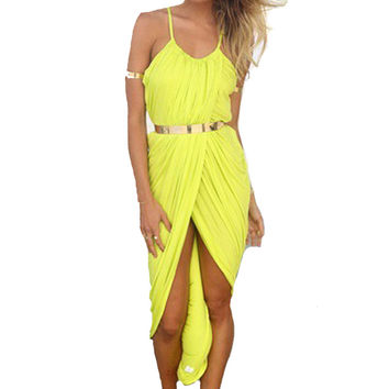 New 2016 Summer Women Neon Asymmetry Slit Beach Dress Ladies White Party Evening Maxi Dresses Sexy Club Vest 01-110