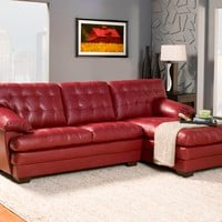 A.M.B. Furniture & Design :: Living room furniture :: Sofas and Sets :: Leather sectionals :: 2 pc Brooks Collection red bonded leather upholstered tufted seat and backs sectional sofa set with chaise