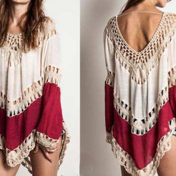 Eliza Bella for Umgee Boho Cream & Crimson Colorblock Tunic Top SML