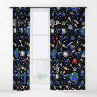 Galaxy Universe - Planets, Stars, Comets, Rockets Window Curtains by gx9designs