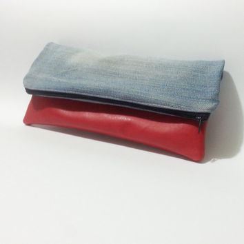 foldover clutch, upcycled denim bag, blue and red, handmade clutch, jeans bag, leather handbag