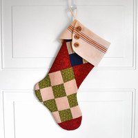 Christmas Stocking Holiday Stocking Traditional Christmas Stocking Vintage Patchwork Stocking Vintage Patchwork Quilt Top Rustic Country