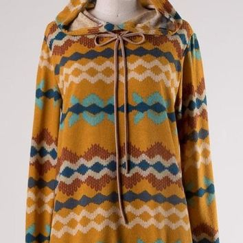 The Hitchcock Aztec Hooded Sweater in Mustard