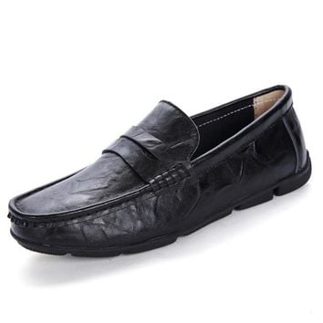 Quality Brand Genuine Leather Men Flats