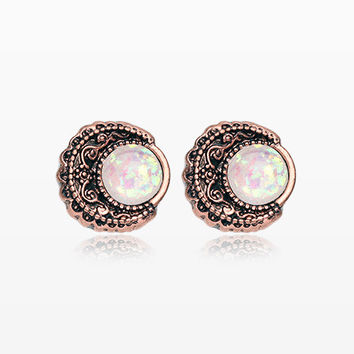 A Pair of Vintage Rustica Boho Filigree Opal Moon Stud Earrings