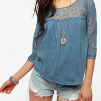 Ecote Lacey Knit Peasant Top