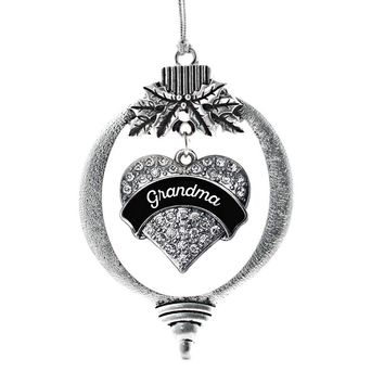 Black and White Grandma Pave Heart Charm Holiday Ornament