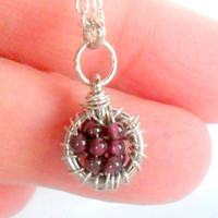 Garnet January Birthstone Necklace, Sterling silver Pendant,  Charm wire wrapped  Gift For Her