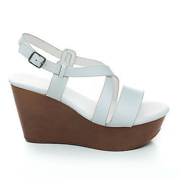 Becca09 White Pu By Bamboo, Criss Cross Cut Out Ankle strap Open Toe Platform Wedge Sandal