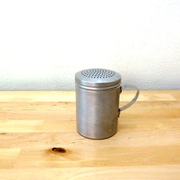 Vintage Aluminum Shaker / Tin Spice Shaker / Small Flour Shaker / Retro Kitchen Decor / Cheese Shaker / Salt Pepper Shaker