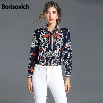 Borisovich New Arrival 2018 Spring Fashion Vintage Print  Turn-down Collar Women Casual Blouses Shirts Female Tops Hot Sale M225