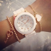 Rose Gold & White Rubber Strap Watch from Her Vanity Affair