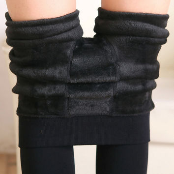 Women Leggings inside Thicken Fur Warm Leggings womens winter fleece legging pants female velvet leggins