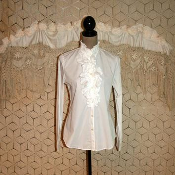 White Tuxedo Blouse Ruffled Shirt White Blouse Womens White Shirt Long Sleeve Button U