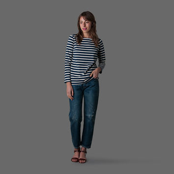 MILL MERCANTILE - Samuji - Everyday Stripe Rova Top in Ecru and Navy