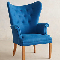 Tufted Wingback Chair by Anthropologie Blue One Size Furniture