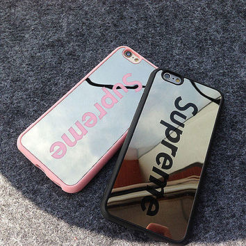 Supreme Sliver Mirror Couple Case for iPhone