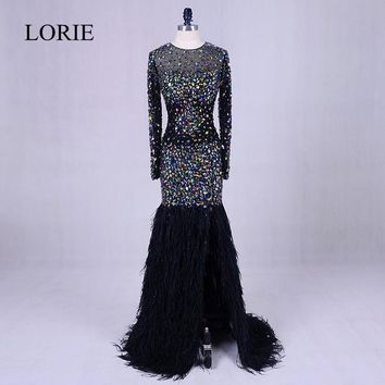 Black Evening Party Dresses With Crystals 2018 Abendkleider Feathers Bling Bling Mermaid Prom Long Dresses Weddings Formal Gowns