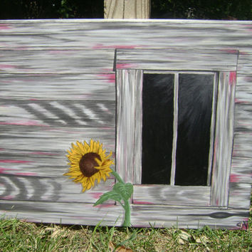 Sunflower Original Acrylic Painting 16X20 canvas fine art old barn window