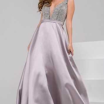 Jovani - Two Toned Crystal Beaded Bodice V Back Full A Line Gown 48102