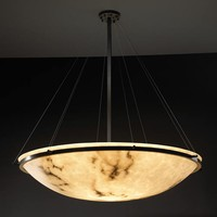 Justice Design Group FAL-9697-35-DBRZ LumenAria 48-Inch Round Bowl Pendant with Ring