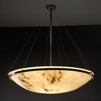 Justice Design Group FAL-9694-35-MBLK LumenAria 36-Inch Round Bowl Pendant with Ring