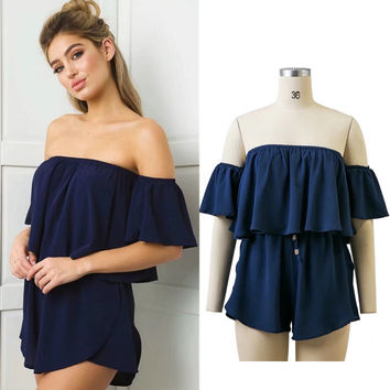 Casual Pants Women's Fashion Summer Ruffle Wrap Romper [11405174223]