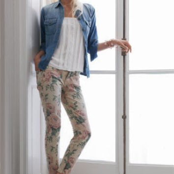 Current/Elliott The Stiletto Haystack Floral Print Jeans (Current Elliott)