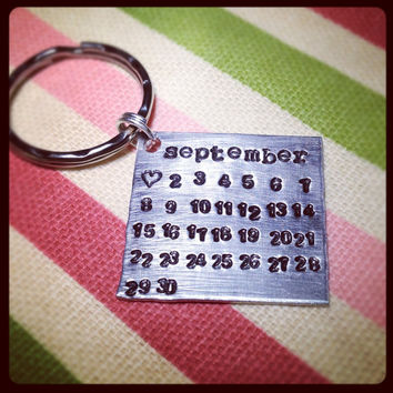 Hand Stamped, Personalized Wedding Date Or Due Date Calendar Keychain Keepsake