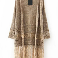 Khaki Long Sleeve Fringed Knitted Cardigan