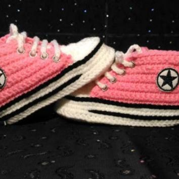 VONR3I Girl Baby Pink Slippers, Crochet Baby Converse Sneakers, Baby Shower Gift, Personal sl