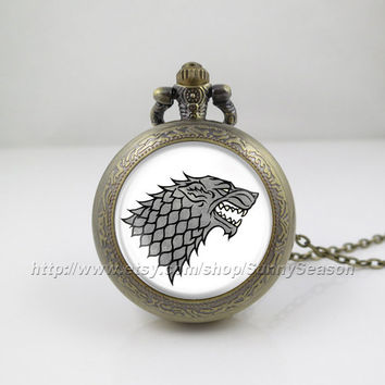 Game of thrones Pocket Watch,Game of thrones house Stark crest Pendant Necklace, a song of ice and fire Locket necklace,Pocket Watch