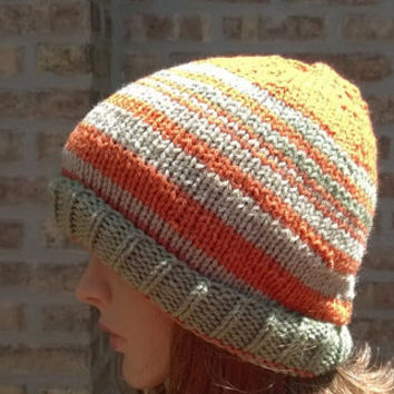 Ready to Ship - Knit Hat - Womens Hat - Mens Hat - The Leftover in Orange and Sage - Fall Fashion Accessories